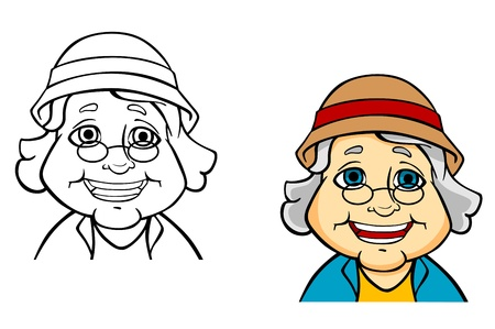 Happy senior grandmother in cartoon style for concept of active life