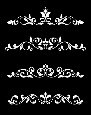 Borders and dividers set in floral retro style Vector
