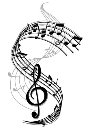 clave de fa: El arte abstracto de fondo la música con las notas musicales para el diseño de entretenimiento Vectores