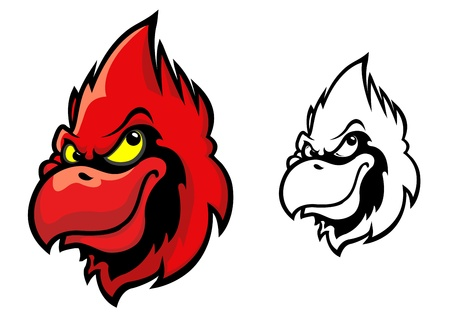 Red cardinal bird head in cartoon style for sports mascot design Vector