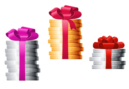 Stacks of coins with colorful ribbons for finance concept or present design Vector