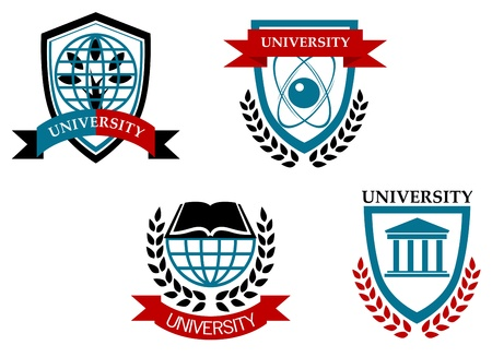 Set of university and education emblems isolated on white background Vector