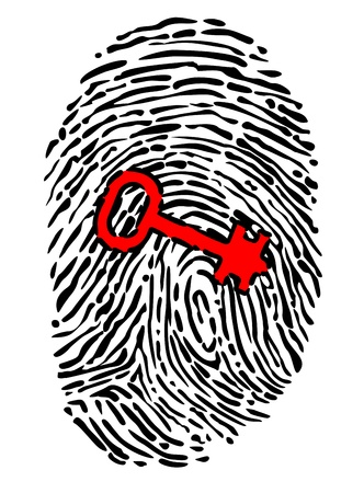 computer crime: Security concept with fingerprint and key isolated on white background Illustration