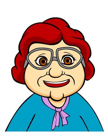 Geluk senior grootmoeder in brillen. Vector illustratie in cartoon stijl Vector Illustratie