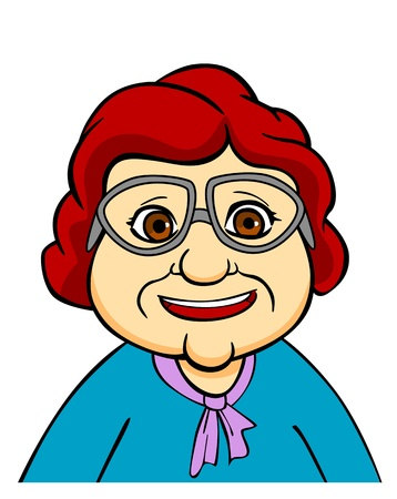 old people smiling: Happiness senior grandmother in eyeglasses. Vector illustration in cartoon style Illustration