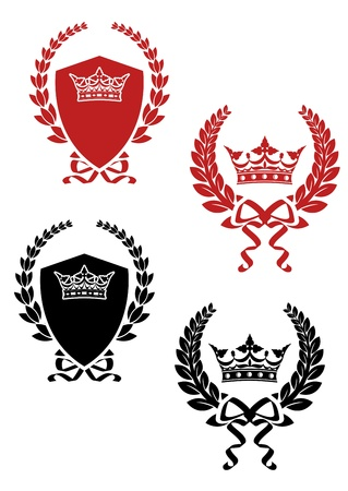king crown laurel icon round: Retro laurel wreathes with ribbons and crowns for heraldry design Illustration