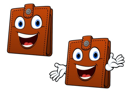 wealthy: Smiling brown leather purse with hands in cartoon style for home finance concept design