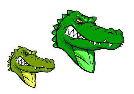 alligator eyes: Green wild alligator in cartoon style for sports mascot design Illustration