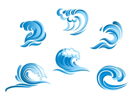 Set of blue surf ocean waves isolated on white background Ilustrace