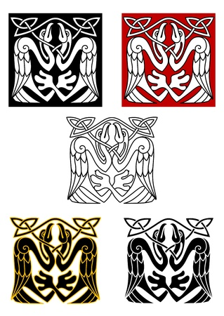 Stork birds in celtic ornament for medieval style design Vector