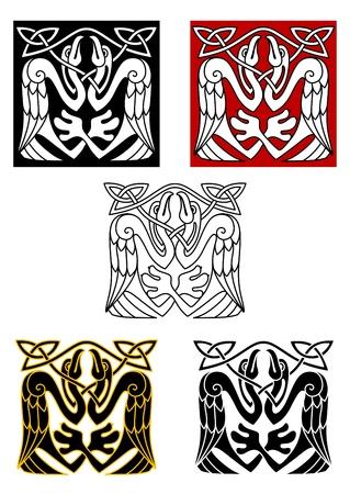 celtico: Uccelli Cicogna in celtica ornamento per il design in stile medievale