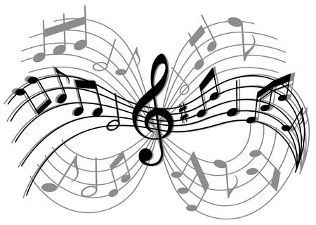 Abstrakte Komposition mit Musik-Elemente und Notizen