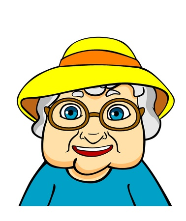 old people smiling: Old grandmother in hat and eyeglasses. Vector ilustration in cartoon style Illustration