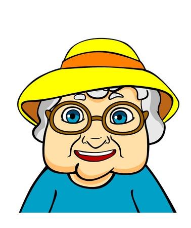 Vieille grand-mère dans le chapeau et les lunettes. Vecteur Ilustration dans un style de bande dessinée