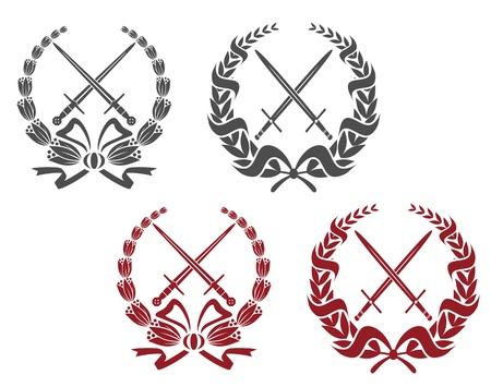 wreath of wheat: Laurel wreathes set with weapon elements for heraldry design