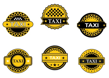 Taxi symbols and signs set for transportation service design Vector