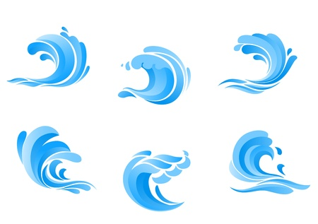 wave: Set of blue sea waves isolated on white background