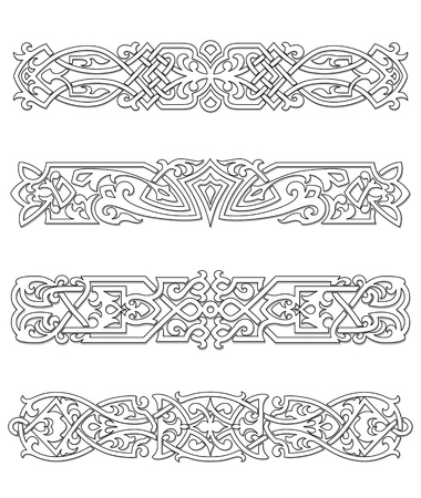 Retro borders and ornaments set for design and ornate Vector