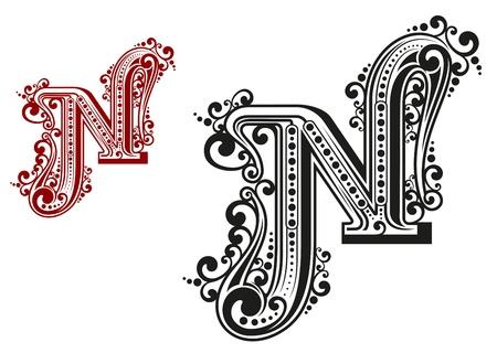 write abc: N carta en estilo caligr�fico vendimia aislado en el fondo blanco