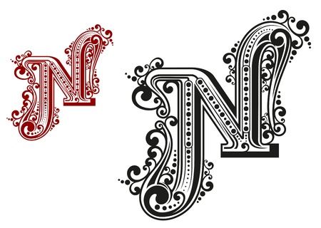 letter n: N letter in vintage calligraphic style isolated on white background Illustration