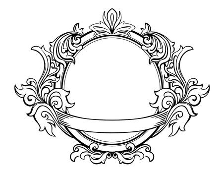 calligraphique: Cadre r�tro avec des �l�ments d�coratifs floraux dans le style victorien Illustration