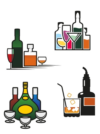 Alcohol drinks symbols and elements set for bar or pub menu design Vector