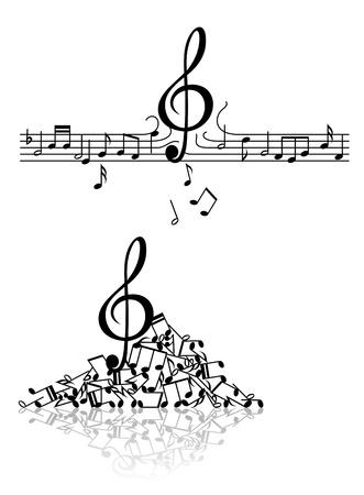 nota musical: Fondo musical abstracta con notas mimados y elementos