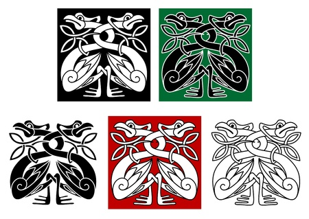 gaelic: Wild birds in celtic ornament style for design and decorate