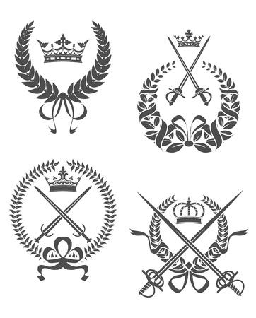 sabel: Retro laurier kransen met zwaarden, sabels en kronen voor wapenkundeontwerp Stock Illustratie