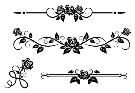 Rose flowers with vintage elements and borders Vector