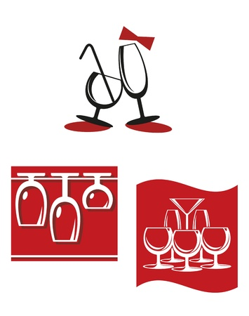 Alcohol glasses symbols and signs for bar menu design Vector