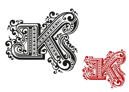 old english letter alphabet: Letter K in retro vintage style for design and embellish