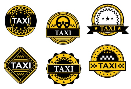 Set of taxi symbols for transportation service design Vector