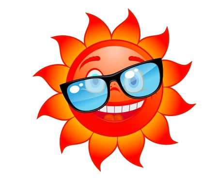 Happy red and hot sun in sunglasses. Cartoon style Vector
