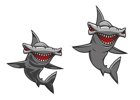 pez martillo: Hammer shark pez en estilo de dibujos animados para el diseño de la mascota