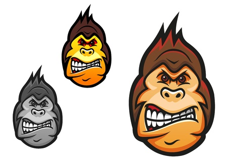 silueta mono: Cabeza de mono enojado en el estilo de dibujos animados para el dise�o de la mascota del deporte