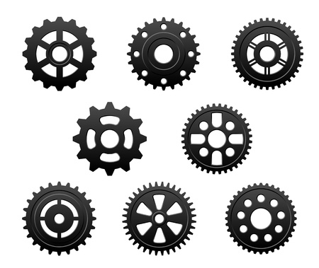 Pinions and gears set for any industrial design Vector