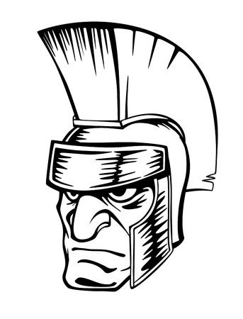 spartano: Antico guerriero nel casco per la progettazione mascotte dello sport