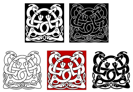 Dogs with celtic ornament for medieval or tattoo design Vector