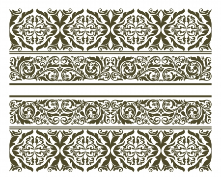 Retro ornament in floral style for border or embellishment design Stock Vector - 19560754