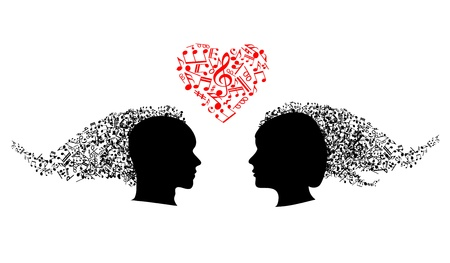teen silhouette: People heads with heart and musical notes Illustration