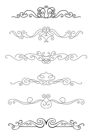 Borders and dividers set with calligraphy elements for design Stock Vector - 19560758