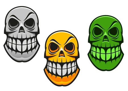 Monster skull in cartoon style for halloween design Vector