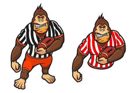 Gorilla player with rugby ball in cartoon style for mascot design