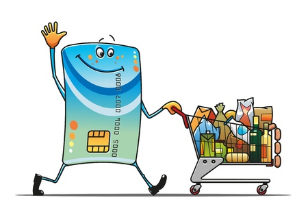 supermarket cart: Credit card with shopping cart and food in cartoon style