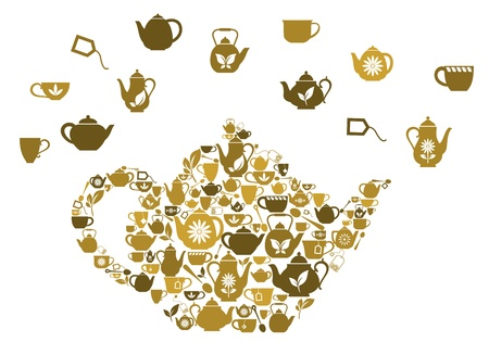 Teapots and cups of tea in big shape for cafe or restaurant design Vector