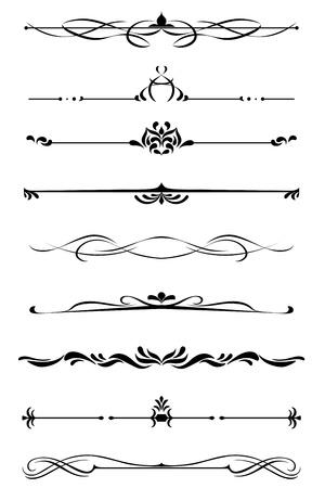 ozdobně: Děliče a hranice stanovené ve středověkém stylu Ilustrace