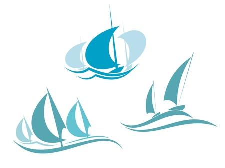 navigating: Yachts and sailboats symbols for yachting sport design