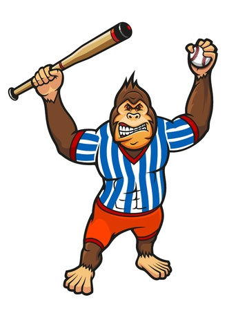 apes: Monkey player with baseball elements for sport mascot design