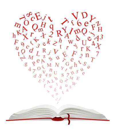 bibliophile: Open book with heart of letters for education design